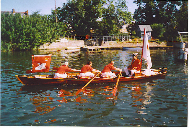Swan Upping beginning at Sunbury Lock.