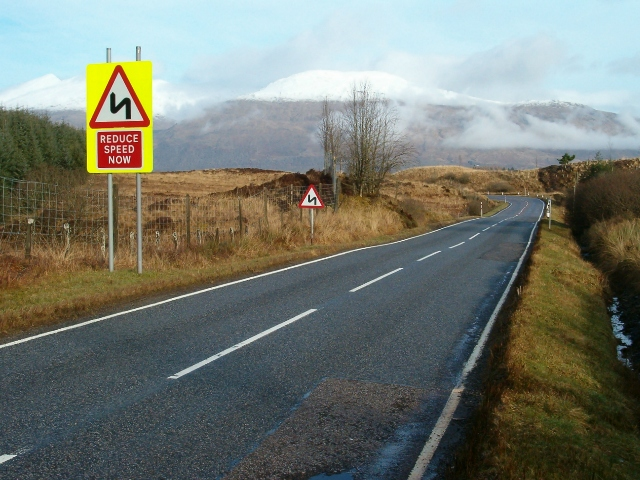 Reduce speed now - the road to Dalmally from Inveraray