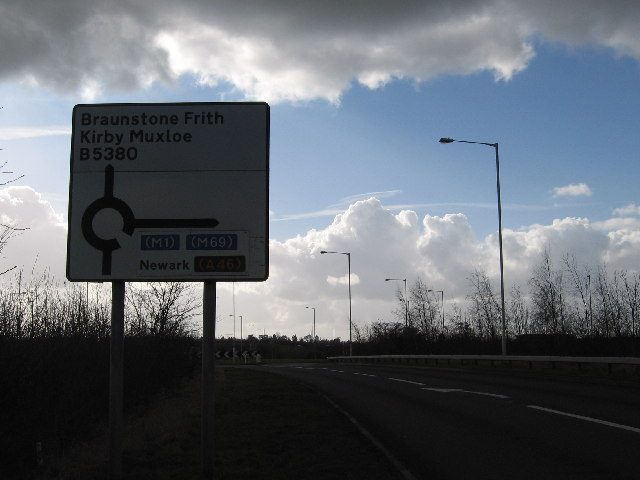 junction B5380 near entry to M1