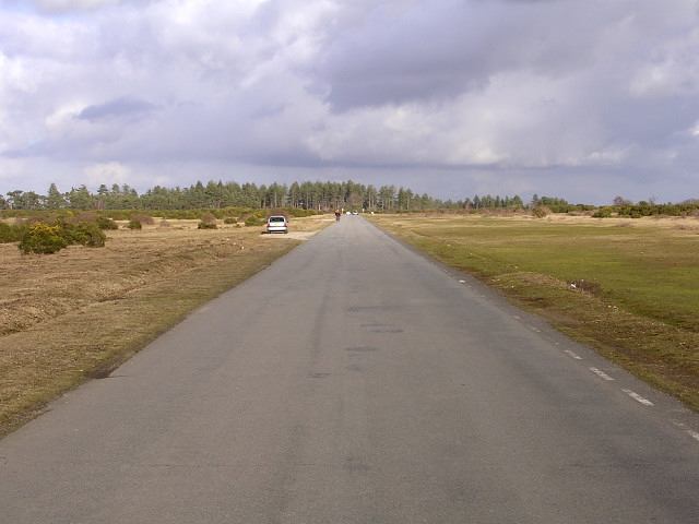 Road along former runway at Stoney Cross airfield, New Forest