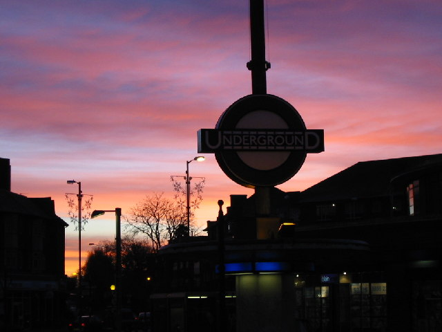 Sunrise over Southgate Tube Station