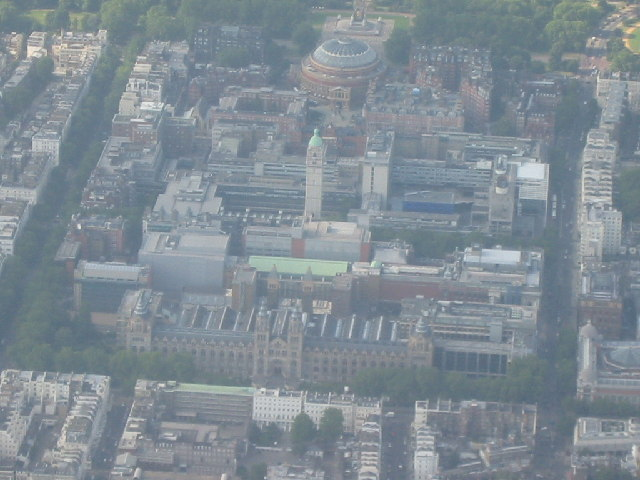 Imperial College, Royal Albert Hall and Natural History Museum from the air