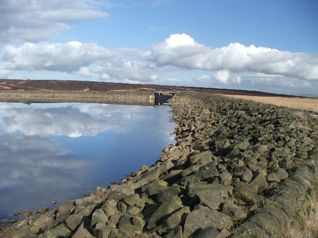 Eastern corner of White Holme Reservoir.