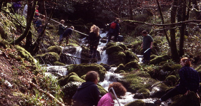Students measuring the Afon Hen