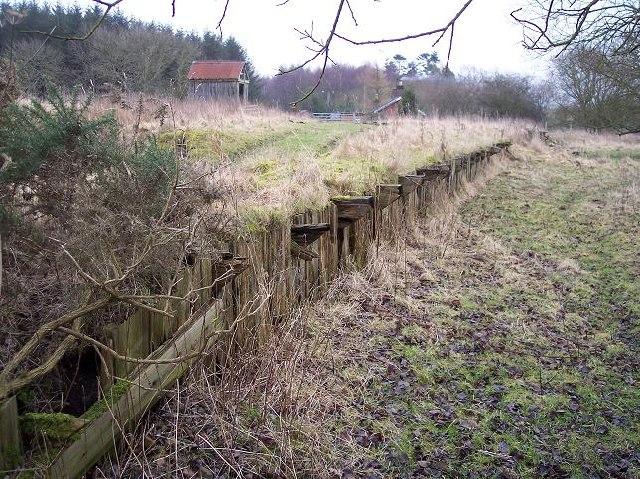 Remains of platform at Ewesley station, former Rothbury branch line, Northumberland