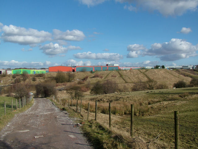 Looking across at an industrial estate