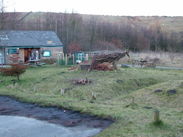 A wooden stag next to cafe