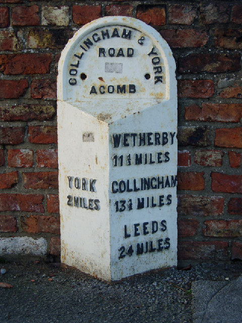 Milepost in York Road, Acomb