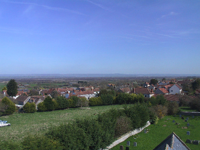 Village of Catcott and part of church yard. From tower of St Peter's Church