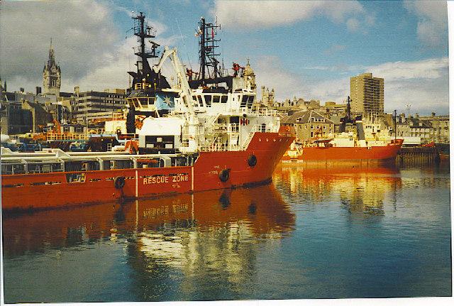 Oil Boats in Aberdeen Harbour.