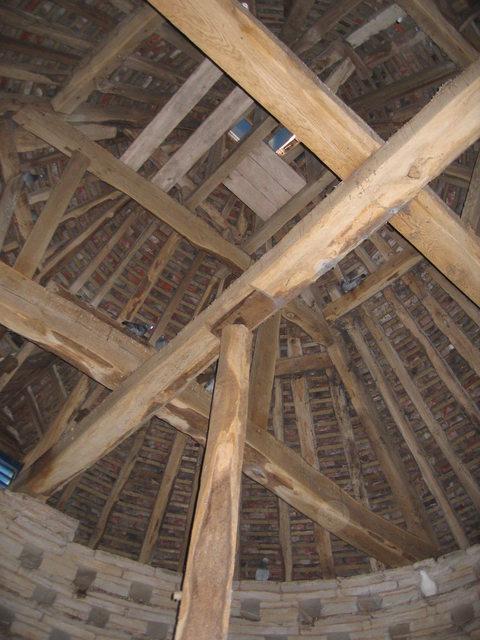 Inside Kinwarton Dovecote