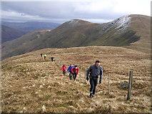 NS2991 : Climbing Beinn Tharsuinn, Luss Hills by Chris Upson