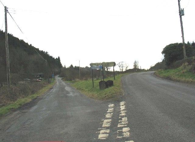 Road junction on the B8025 Tayvallich/Achnamara.