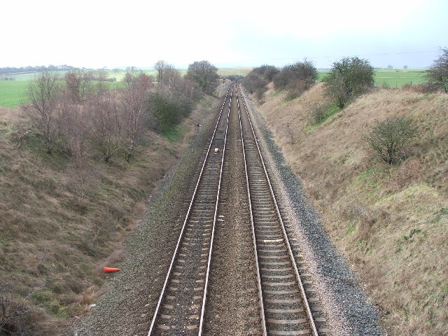 Railway through Sharlston Common.