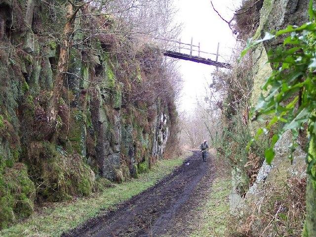Derelict footbridge over disused railway, Coquet Dale, Rothbury, Northumberland.