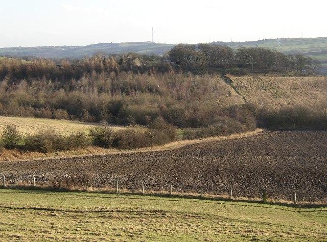 View towards Hartshead Hall Farm from Cross Hill Lane, Hartshead, Yorkshire