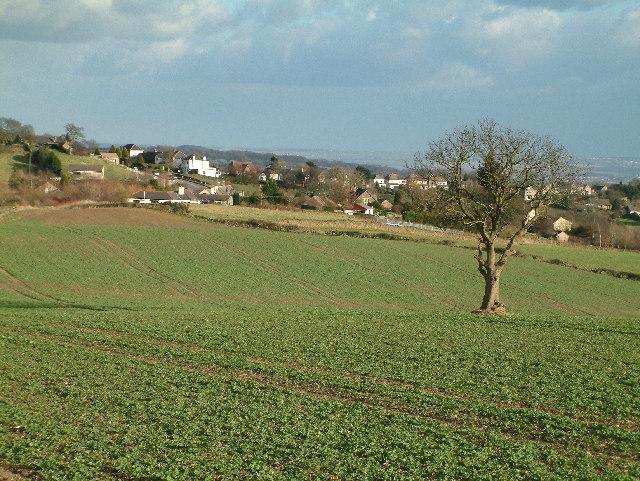 Looking across Holmesfield Common towards Holmesfield.