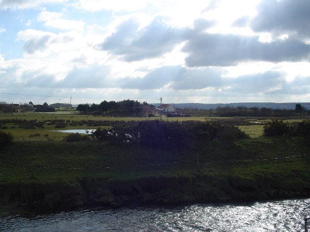 River Caen looking towards sewage works and Chivenor Airfield