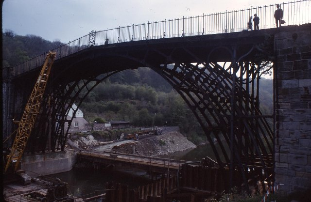 Ironbridge bridge being repaired in 1974