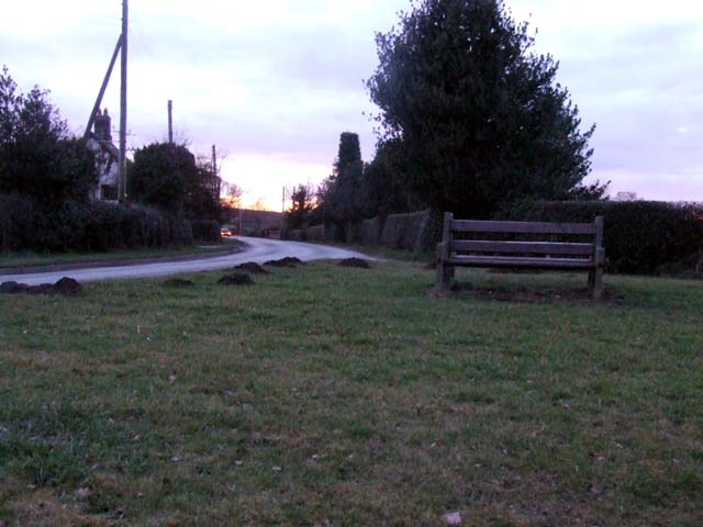 Bench on road junction