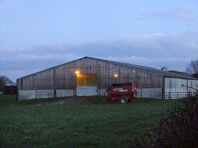 Farm building at dusk