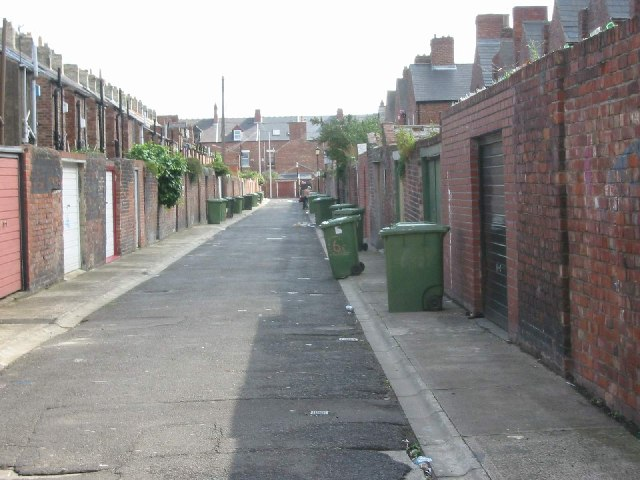 Back lane between Falmouth Road and Heaton Grove