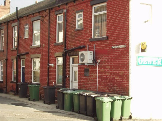 Gathering of the bins, Woodville Place, Horsforth, Leeds