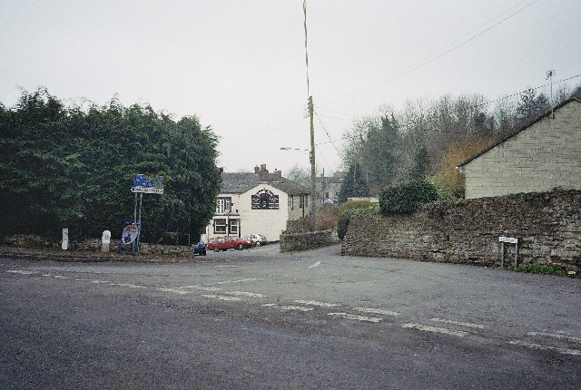 Road Junction, Clandown with The Lamb Inn in the background