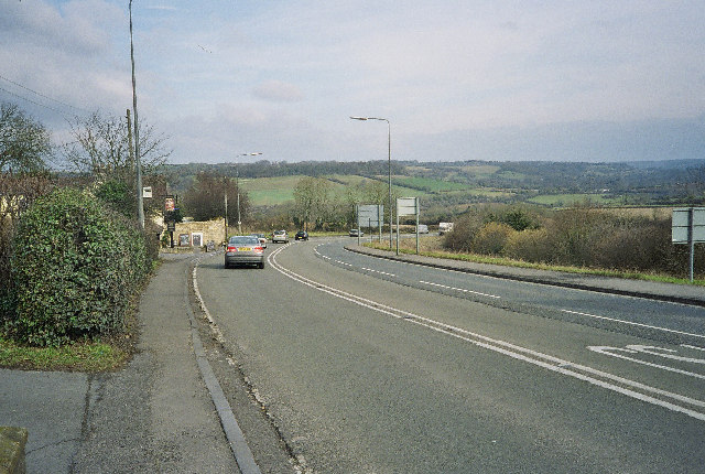 Dunkerton Hill With The Prince Of Wales Pub on the Left
