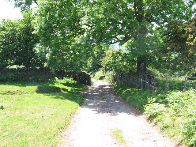 Lane and gateway below Three Wells