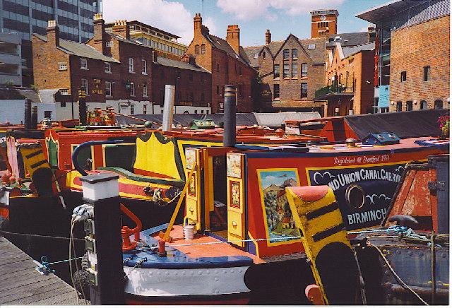 Narrowboats Moored in Gas Street Basin.