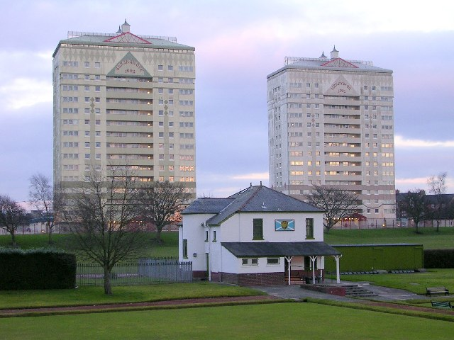 Bowling Club and Tower Blocks, Coatbridge