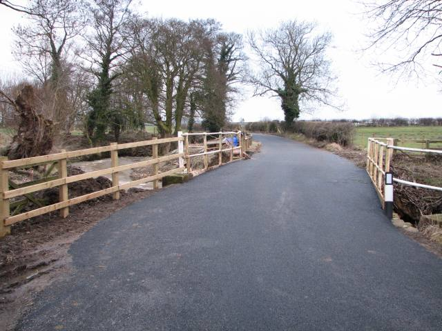 The newly resurfaced road over Broad Beck bridge