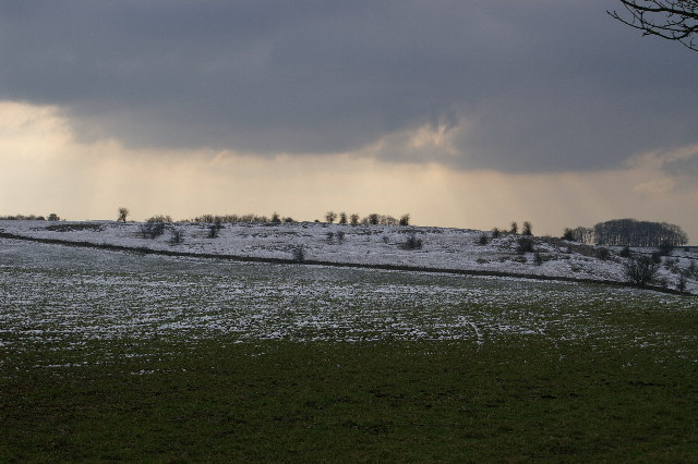 Tumuli on the Mendips on a snowy day