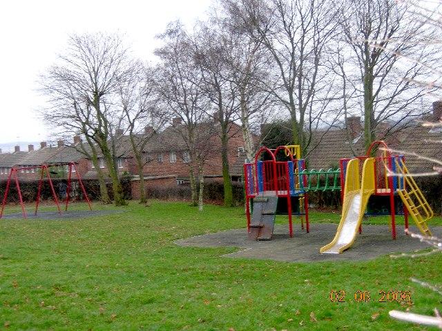 Swings behind Darcy Road in Eckington in NE Derbyshire