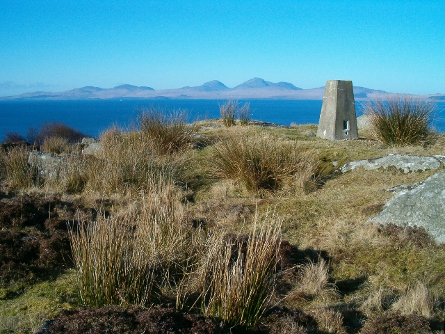 Trig pillar at the Point of Knap, looking towards the Paps of Jura