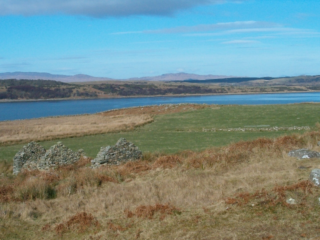 Ruin at Doide, looking across Loch Sween