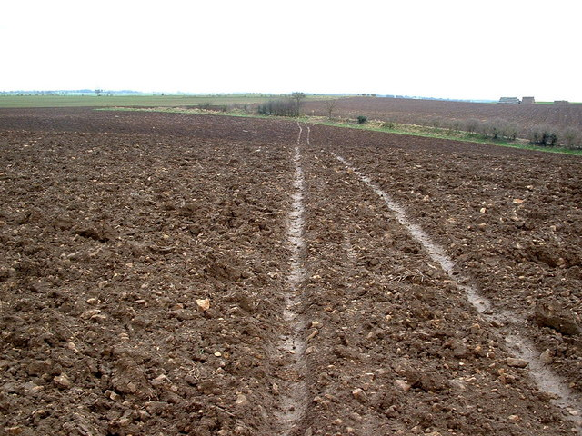 Footpath across a ploughed field