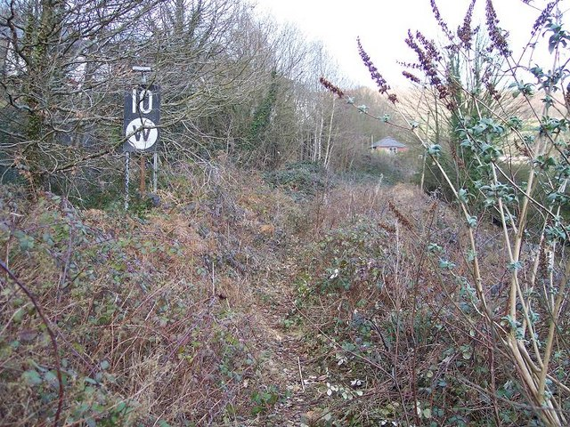 Overgrown railway trackbed approaching the site of Pantyresk level crossing at West End in Ebbw Vale