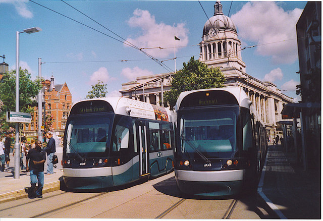 Trams on the Old Market Square, Nottingham.