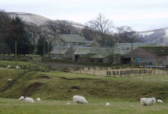 Mauldslie Farm with Moorfoot Hills beyond