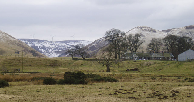 Moorfoot Farm with Bowbeat Wind Farm in background