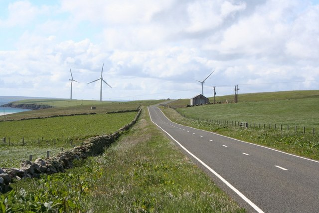 Spurness peninsula and windfarm, Sanday, Orkney