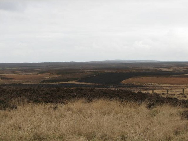 Looking SE over the moorland from the road junction