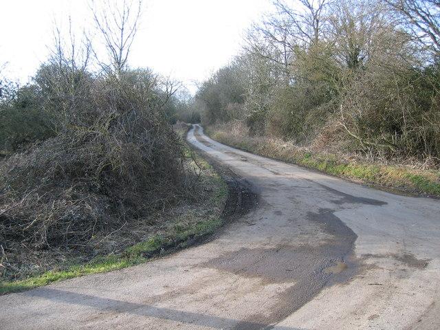Wickwater Lane from Wickwater Farm near Cerney Wick