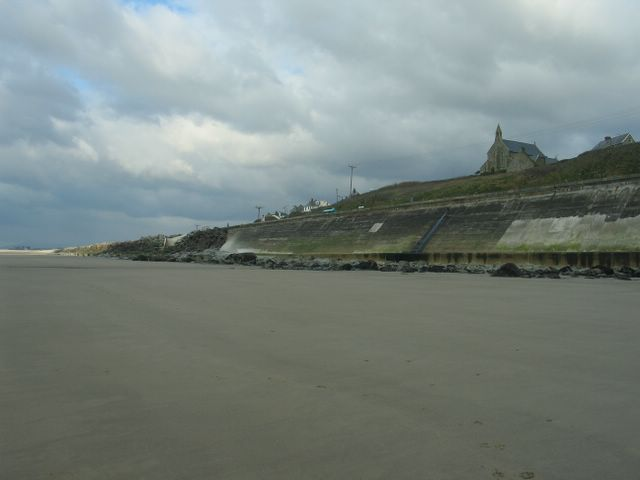 Llanaber Beach, and sea defences