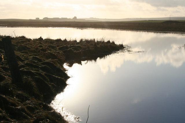 Deerness, Orkney, loch and farmland
