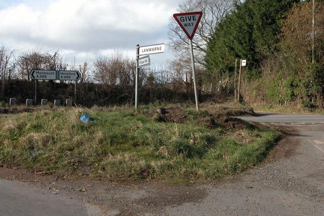Road junction near Hill Gate, Llanwarne