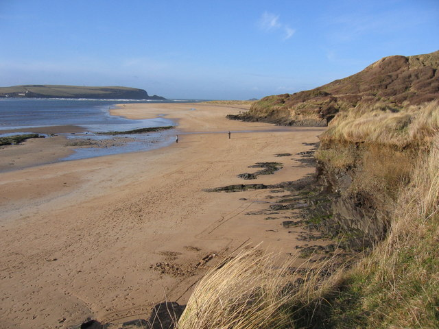 The beach north of Rock looking to Cassock Hill