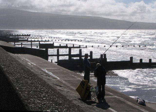 Groynes near Barmouth at high tide